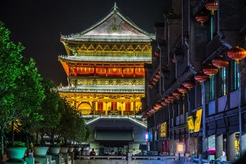 Canvas Prints Place of worship Wide angle shot of the Defachang in Lianhu, China at night