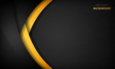 Black and yellow overlap background. Texture with dark metal pattern. Modern overlap dimension vector design. - fototapety na wymiar