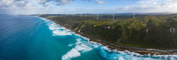Papiers peints Cote Panoramic aerial view of the Albany wind farm, originally commissioned in 2001, it now cosists of 18 turbines producing 80 per cent of the electricity requirements of Albany