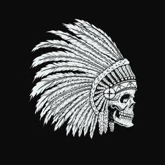 Illustration of native indian skull in traditional headdress. Design element for logo, label, emblem, sign, badge. Vector illustration