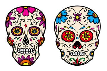 Set of vintage mexican sugar skull isolated on white background. Design element for logo, label, sign, poster. Vector illustration