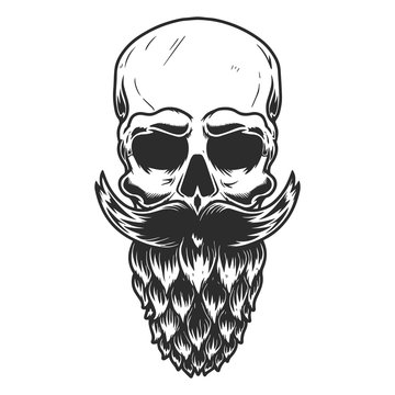 Human skull with the beard made from beer hop. Design element for poster, card, banner, flyer. Vector illustration