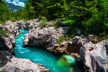 Emerald color Soca river with spectacular rocky canyon, Bovec, Slovenia