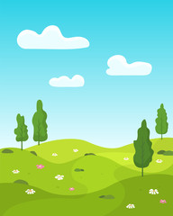 Beautiful spring landscape background in flat style.