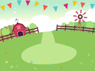Party Farm Theme Buntings Background Illustration