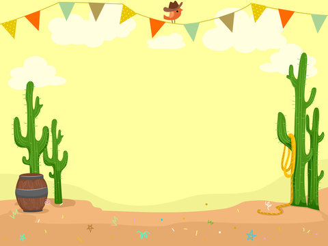 Party Cowboy Theme Desert Buntings Illustration
