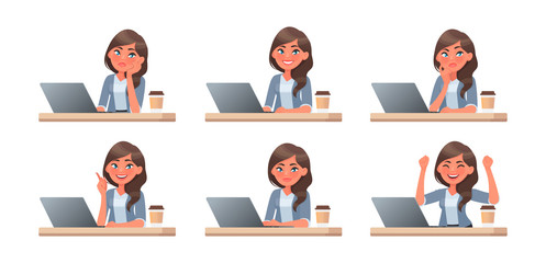 Woman works at a computer. The working process. A set of emotions. She thinks, idea, task and success