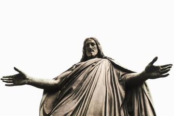 Low Angle View Of Jesus Christ Statue Against Clear Sky