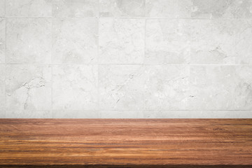 Empty wooden table top on white wall background, high quality, 3D rendering