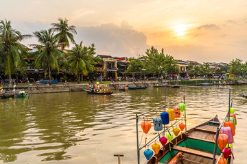 Wall Mural - Landscape with wooden boats and Thu Bon River in Hoi An , Vietnam