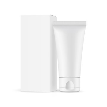 Small plastic cosmetic tube with cardboard box mockup, isolated on white background. Vector illustration