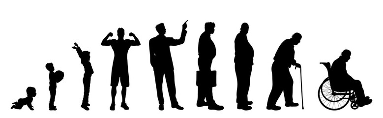 Vector silhouette of man in different age on white background. Symbol of generation from child to old person.