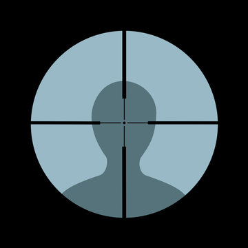 Headshot - sniper and marksman is shooting on the head of man, person and hostile enemy - lethal attack, assault and  assassination. Vector illustration.