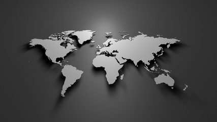 Fototapeta World map on grey background  obraz