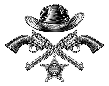 Cowboy hat with sheriff badge and a two crossed pistol hand guns drawn in a vintage retro woodcut etched or engraved style