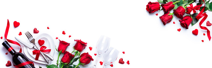 Valentines Day Dinner - White Romantic Table Setting With Wine And Red Roses