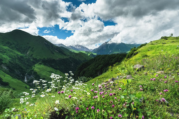 Aluminium Prints Dark grey Summer landscape in mountains and the dark blue sky with clouds
