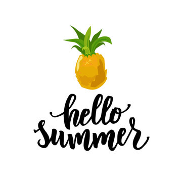 Hello summer hand lettering text as logotype, label, badge, icon, postcard, card, invitation, banner template. Special summer sale typography poster. Vector illustration.