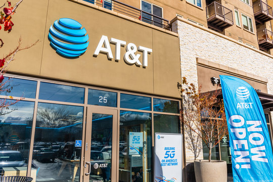 Jan 24, 2020 Mountain View / CA / USA - AT&T store in San Francisco Bay Area; sign displayed above the entrance; AT&T is the world's largest telecommunications company