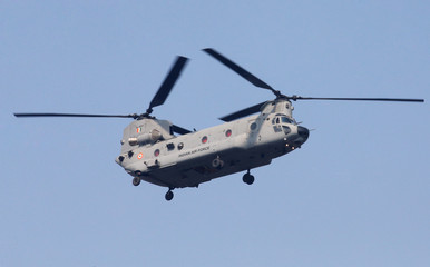Indian Air Force's Chinook helicopter flies during India's Republic Day parade in New Delhi