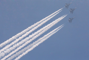 Indian Air Force's Jaguar fighter jets fly during India's Republic Day parade in New Delhi