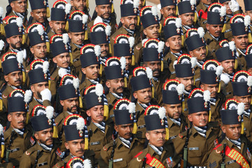 Soldiers march during India's Republic Day parade in New Delhi