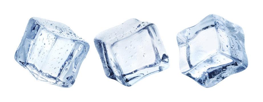 Set of ice cubes, isolated on white