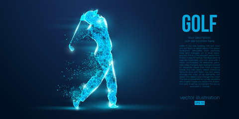 Silhouette of a golf player, golfer from particles on blue background. All elements on a separate layers color can be changed to any other. Low poly neon wire outline geometric. Vector illustration