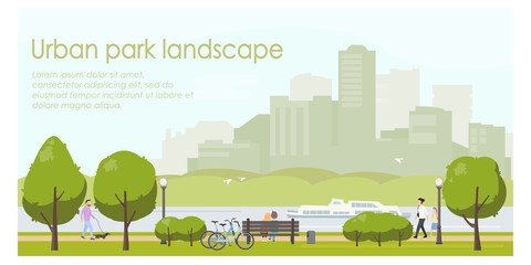 Urban park landscape flat illustration. Horizontal banner template with place for your text. Stock vector. People relaxing in city park, walking with dog, riding bicycle. Wall mural