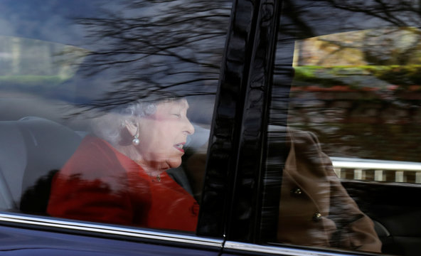 Britain's Queen Elizabeth arrives at St Mary Magdalene's church on the Sandringham estate in eastern England