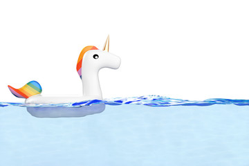 Funny Inflatable Unicorn Ring for Summer Pool in Pool or Sea Water. 3d Rendering