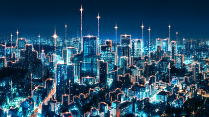 Wall Mural - Smart Network and Connection city of Japan