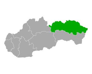 Fototapeta Karte von Presovsky kraj in Slowakei obraz