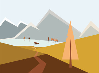 Canvas Prints Honey Autumn landscape illustration, road to mountain lake with boat between hills, trees, peaks in snow, autumn concept. Path leading through mounts near spruce, river, geometric artwork with triangles