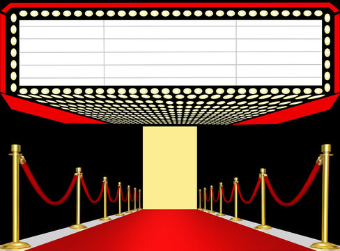 Red carpet paparazzi,3D illustration space for text