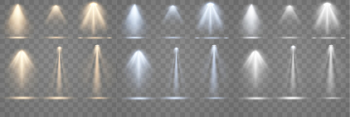 Aluminium Prints Light, shadow Set of spotlight shines on the stage, scene, podium. Bright lighting with spotlights. Spot lighting of the stage. Lens flash light effect from a lamp or spot.