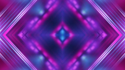 Dark abstract futuristic background. Neon glow, light lines, shapes. UV light.