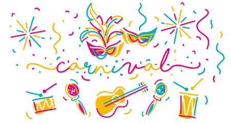Carnival handwritten typography colorful line design carnival elements and music instruments isolated white background