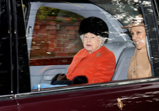 Britain's Queen Elizabeth departs from St Mary Magdalene's church on the Sandringham estate in eastern England