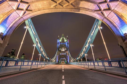 Empty Illuminated Tower Bridge Against Sky At Night