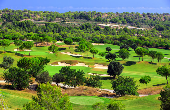 The golf course Las Colinas Golf Country Club on the costa blanca, Spain