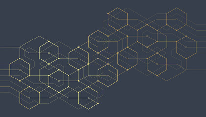 Abstract geometric lines. Connection and social network. Concept with lines and dots. Minimalistic Design. Wall mural