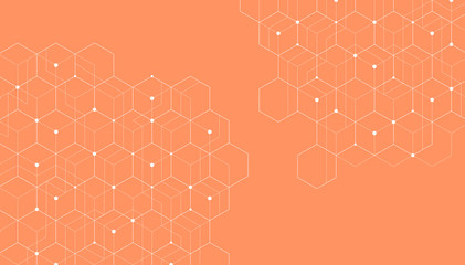 Abstract hexagonal molecular structures on orange background with copy space.