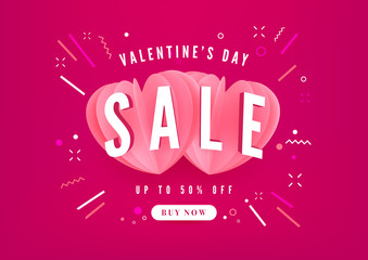 Valentine's Day Sale, Pink hearts background, Special offer, Sale banner.