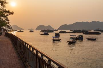 Printed kitchen splashbacks Cat pier at sunset Vietnam kat ba island