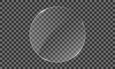Vector glass ellipse on a transparent background. Transparent mirror, realistic glare window