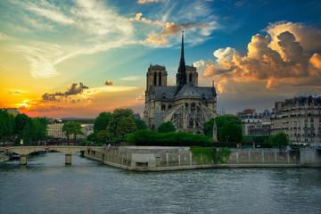 Wall Mural - Notre Dame de Paris before the Fire incident, under an amazing Sky. Paris, France, Europe.