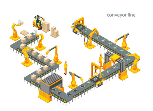 Automatic factory with conveyor line and robotic arms. Assembly process. Illustration