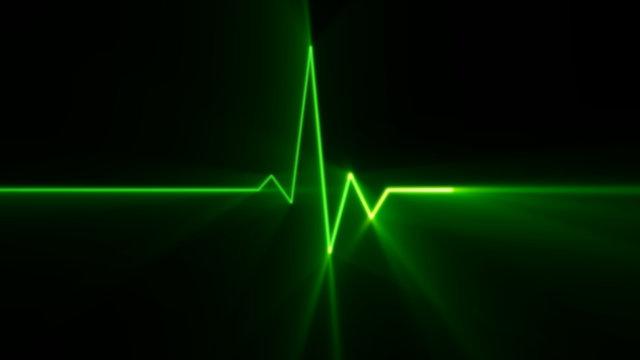 Heartbeat green line EKG monitor