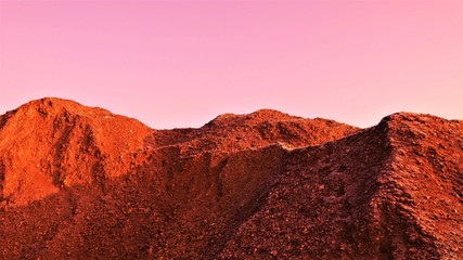 Spoed Fotobehang Bruin Graphics - Red Martian landscape. Landscape on the Mars with mountains